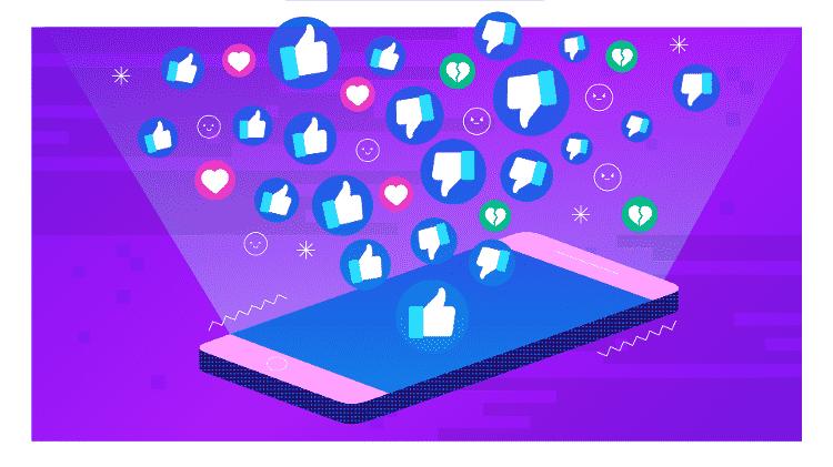 Ilustração fria Tilt: like; likes; facebook; instagram; redes sociais; curtidas - Estúdio Rebimboca/UOL  - Estúdio Rebimboca/UOL