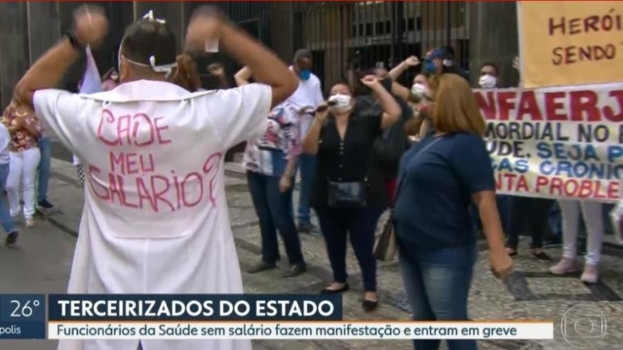 Enfermeiros e técnicos de enfermagem terceirizados do estado do Rio de Janeiro anunciaram hoje que estão em greve - Reprodução / Rede Globo