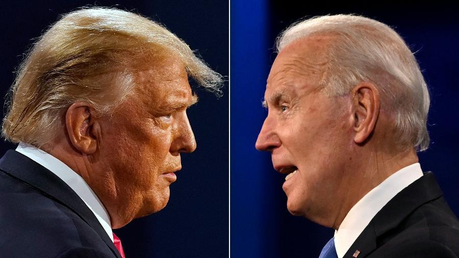 O republicano Donald Trump e o democrata Joe Biden, adversários nas eleições presidenciais de 2020 - Morry Gash e Jim Watson/AFP