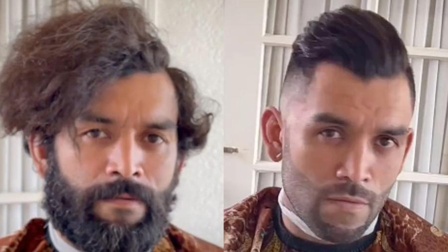 O morador de rua ganhou corte de barba e cabelo após pedir dinheiro para um barbeiro - Reprodução/TikTok/@jaypro.tv