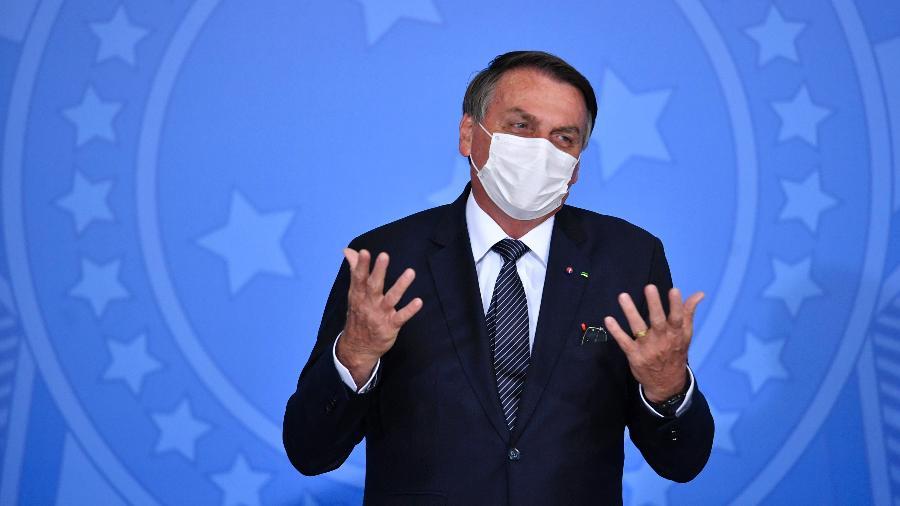 26.mai.2021 - O presidente Jair Bolsonaro (sem partido) durante cerimônia de sanção do PL 5043/20, sobre o teste do pezinho - Mateus Bonomi/AGIF/Estadão Conteúdo