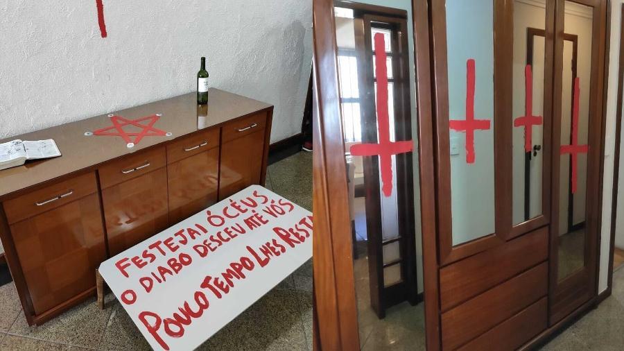 Cena do crime tinha cruzes vermelhas e páginas da Bíblia queimadas - Divulgação/Polícia Militar ES
