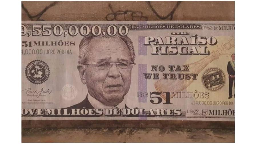 Paulo Guedes volta aos muros da Faria Lima, centro financeiro de São Paulo e do país, agora como efígie de uma nota de US$ 9,55 milhões - Arquivo Pessoal