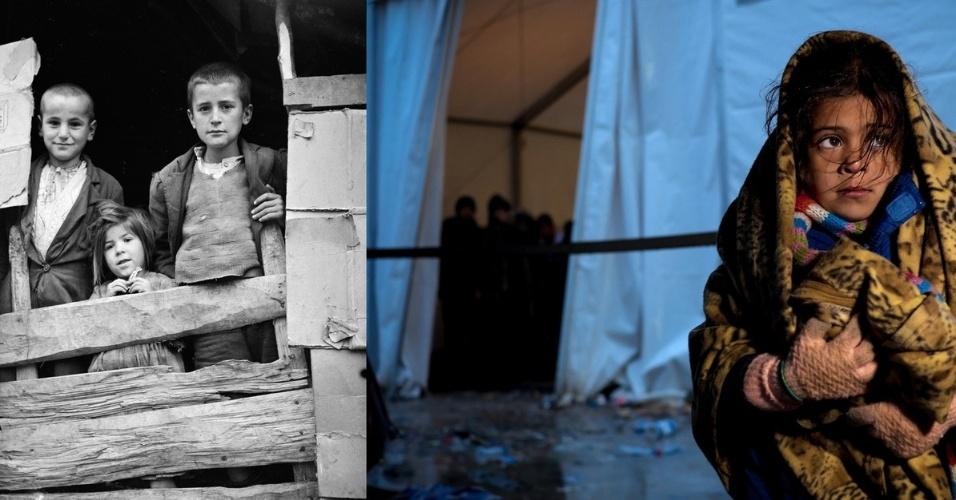 Na Grécia, em 1949, crianças aparecem do lado de fora de um barraco de madeira. Já em 2015, na Macedônia, uma garota se enrola em cobertor para espantar o frio fora de uma tenda