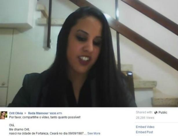 Adotada ainda recém-nascida, Orit Sharabi, de 28 anos, cresceu em Israel, mas nasceu supostamente em Fortaleza