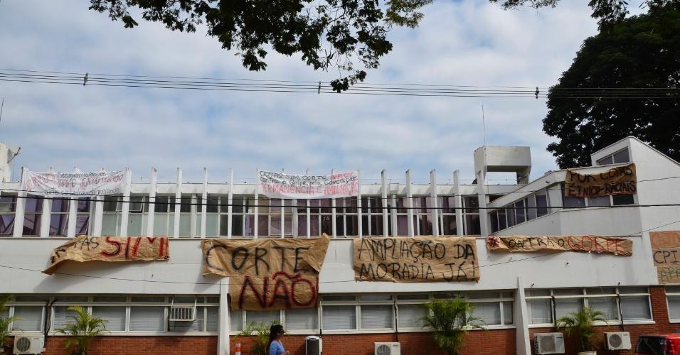 12.mai.2016 - Reitoria da Unicamp (Universidade Estadual de Campinas) segue ocupada por estudantes. Os alunos são contra os cortes de verbas para a educação pública e pedem adoção de políticas de cotas e de permanência estudantil. A ocupação foi feita na noite do dia 10 de maio