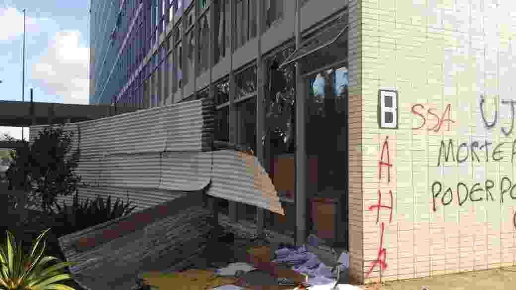 Depredação em um dos prédios da Esplanada dos Ministérios - Jéssica Nascimento/UOL