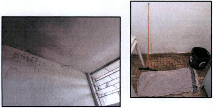 Durante visita de peritos, foi constatado um vazamento em um banheiro, que já estava sendo consertado