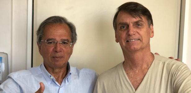 23.set.2018 - Jair Bolsonaro posta foto ao lado do assessor econômico Paulo Guedes
