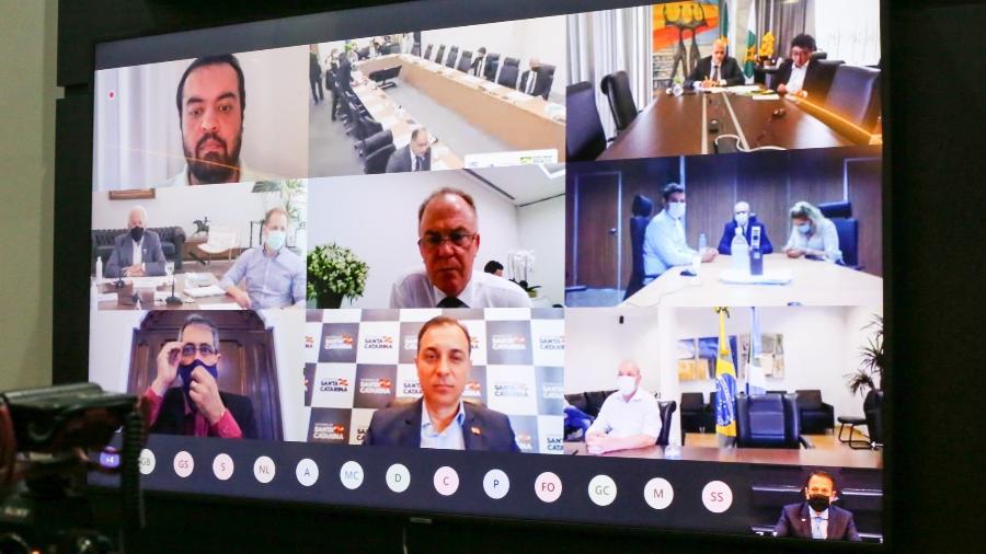 Governadores durante videoconferência com o Ministério da Saúde para debater o PNI, em outubro de 2020 - Governo do Estado de São Paulo