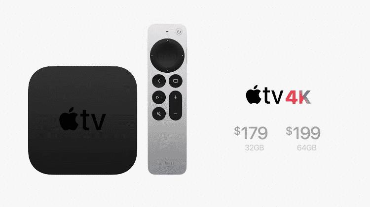 Apple TV 4K ao lado de novo controle com assistente Siri - Reprodução - Reprodução