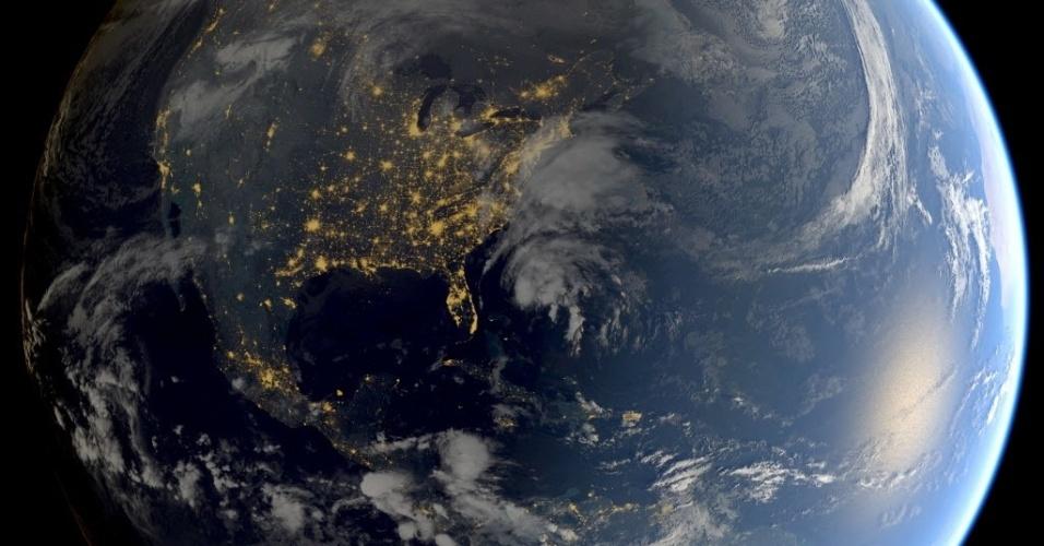 10.nov.2015 - Foto de satélite registra a tempestade tropical Kate (ao centro) no Oceano Atlântico. A tempestade ganhou força nesta terça-feira (10), mas ainda está se movendo longe da terra, então não representa uma ameaça para as Bahamas, segundo meteorologistas dos Estados Unidos. O Centro Nacional de Furacões de Miami afirmou que os ventos da tempestade rumam para alcançar cerca de 110 km/h, podendo atingir a força de um furacão