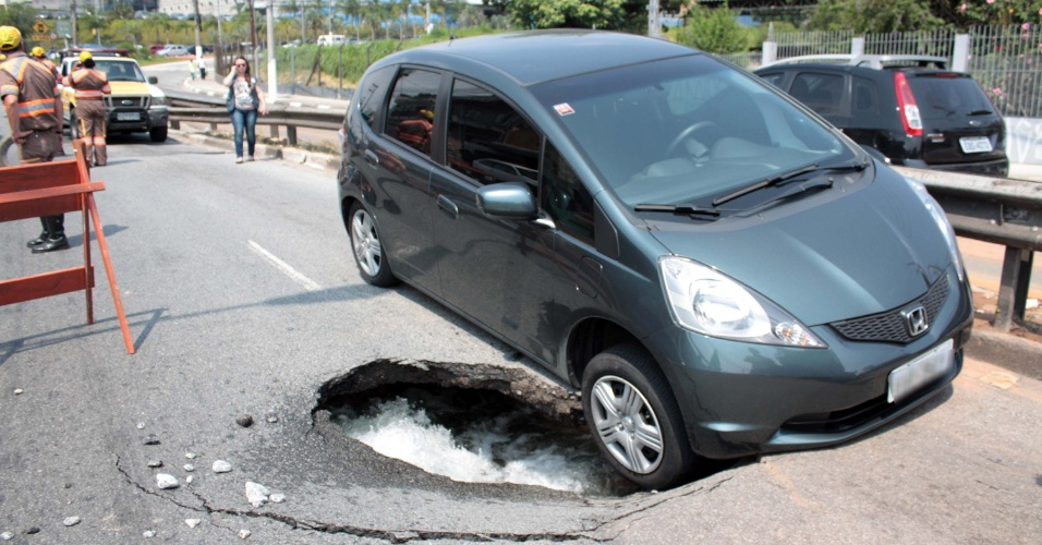 3.fez.2016 - No meio do caminho, abriu um buraco. Imagina o susto de seu carro quase cair em um grande buraco enquanto trafega em uma rua? É o que aconteceu com a aeromoça Nelise Quiles, que estava com um bebê de nove meses no carro. Uma adutora se rompeu na avenida Interlagos, zona sul de São Paulo (SP), e interrompeu o trajeto de mãe e filho. Técnicos da Sabesp no local não sabem o que causou o problema