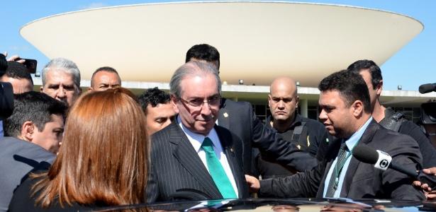 O ex-deputado Eduardo Cunha (PMDB-RJ) deixa a Câmara depois de anunciar sua renúncia à presidência da Casa