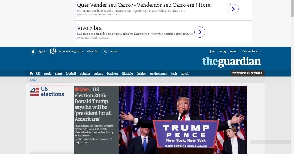 09.nov.2016 - O jornal britânico The Guardian destaca em sua versão online a vitória de Donald Trump na disputa presidencial dos EUA