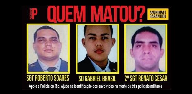 O Disque-Denúncia oferece R$ 5 mil por informações sobre as mortes dos PMs