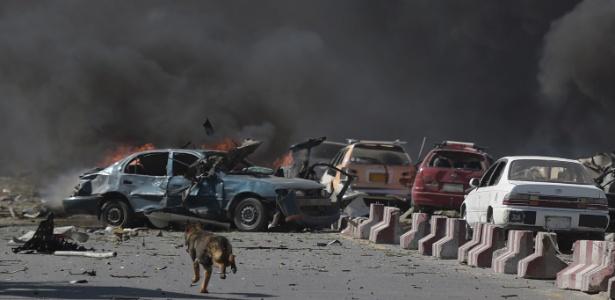 Cão corre entre carros destruídos em local de explosão de carro-bomba em Cabul, Afeganistão