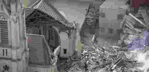 Parte do prédio da igreja luterana caiu após o desabamento do edficío vizinho - Marcelo Justo/UOL