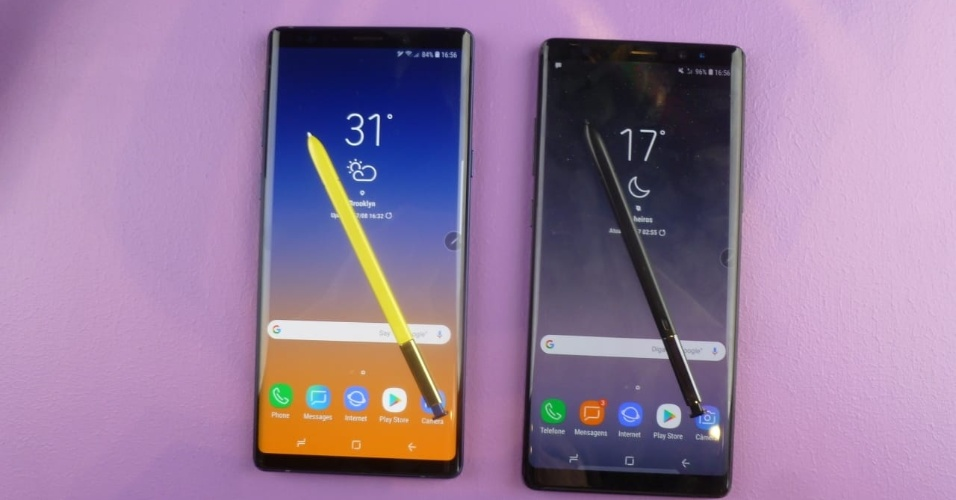 Galaxy Note 9 (à esquerda) e o Note 8