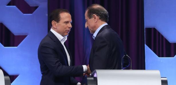 Os candidatos ao governo de SP Joao Doria (PSDB) e Paulo Skaf (MDB) em debate UOL