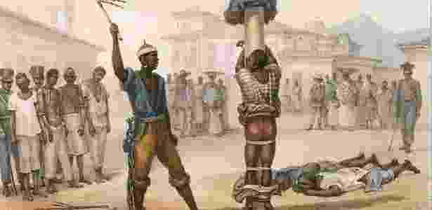 20.nov.2018 - Ilustração de violência contra escravos - The New York Public Library Digital Collections - The New York Public Library Digital Collections