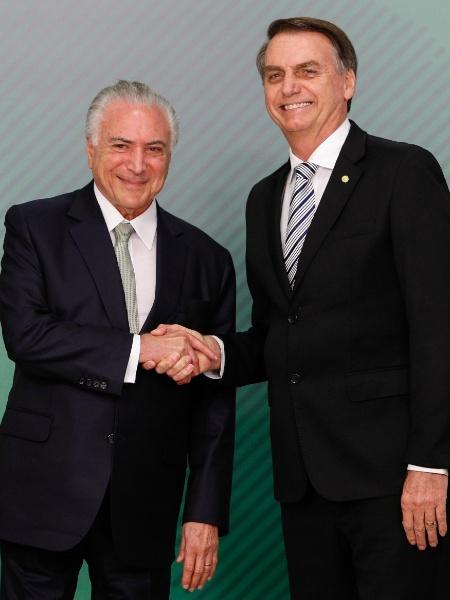 O presidente Michel Temer (à esq.) e o presidente eleito, Jair Bolsonaro - Xinhua/Alan Santos/Presidência do Brasil