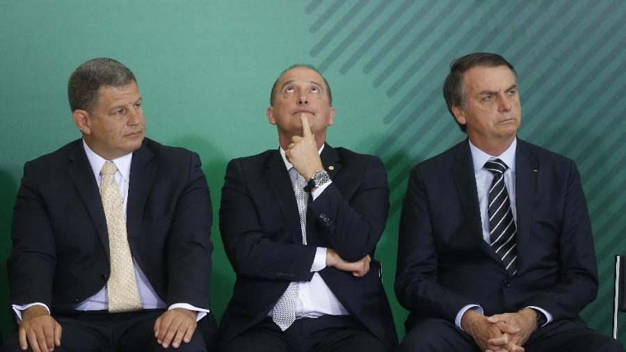 2.jan.2019 - Bebianno (e), Onyx (c) e Bolsonaro juntos - DIDA SAMPAIO/ESTADÃO CONTEÚDO