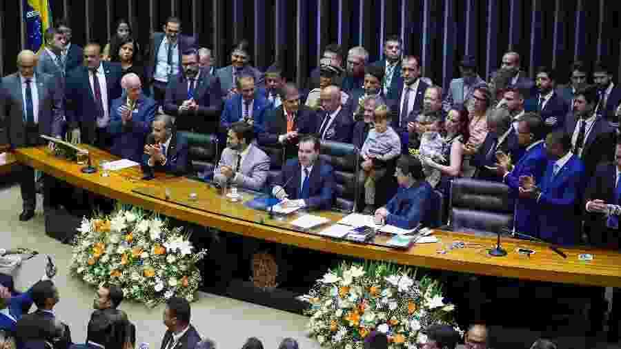 O presidente reeleito da Câmara, Rodrigo Maia (DEM-RJ), fala da Mesa Diretora da Casa após a vitória no pleito - Pablo Valadares/Câmara dos Deputados