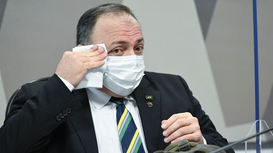 19.mai.2021 - Ex-ministro da Saúde Eduardo Pazuello durante o depoimento à CPI da Covid, no Senado - Jefferson Rudy/Agência Senado