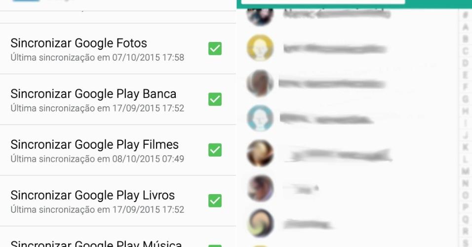 De iPhone para Android - Passo 12: Normalmente o Android habilita diversas opções de sincronização ligadas à sua conta Google, como backup do Google Fotos, calendário e contatos. Se for o caso, o telefone baixará automaticamente todos os contatos.