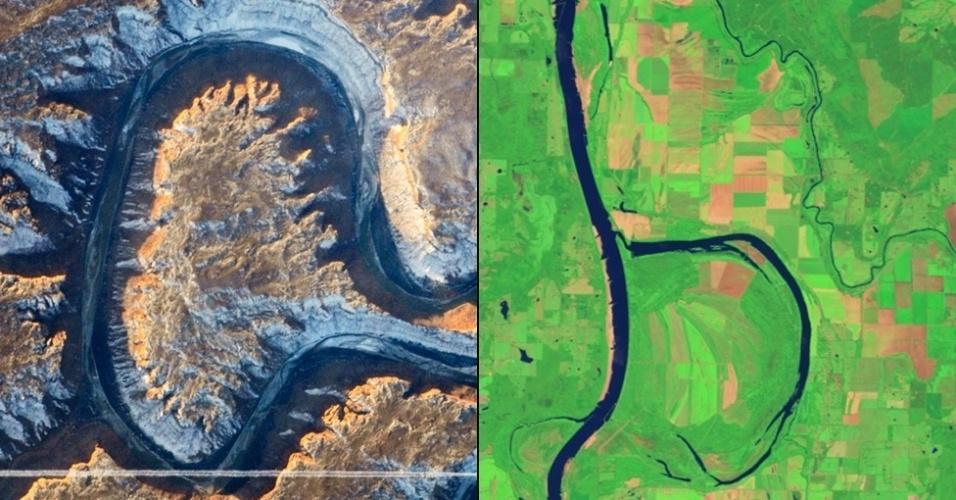 """6.jan.2015 - A letra """"A"""" é resultado do traçado do Green River, no Estado americano de Utah, que descreve uma curva acentuada retornando na direção do original. A foto foi tirada a bordo da Estação Espacial Internacional. O """"B"""" é formado de uma imagem do rio Arkansas e o Holla Bend Wildlife Refuge, colhida pelo Operational Land Imager (OLI) no Landsat 8"""