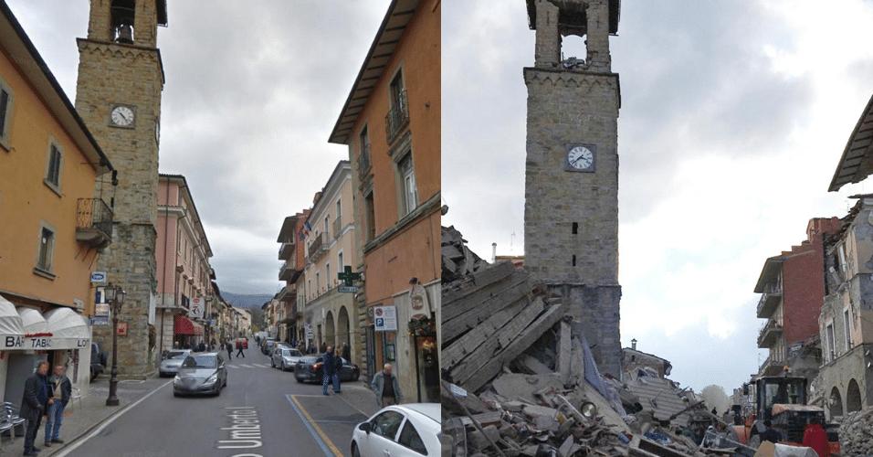 24.ago.2016 - Montagem mostra a torre do sino em Amatrice, Itália, antes (esq.) e depois do terremoto desta quarta-feira