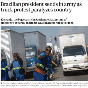 The Guardian chama atenção também para o estado de emergência de São Paulo - Reprodução
