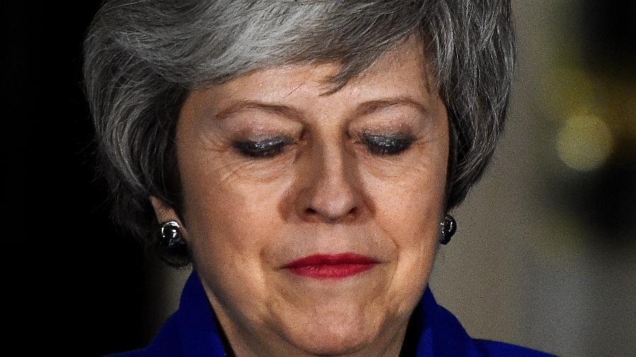 16.jan.2019 - A primeira-ministra britânica Theresa May em pronunciamento em Londres - Clodagh Kilcoyne/Reuters