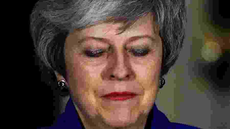 A primeira-ministra britânica Theresa May, durante pronunciamento em Londres - Clodagh Kilcoyne/Reuters