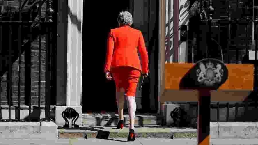 24.mai.2019 - Theresa May anunciou sua renúncia ao cargo de primeira-ministra do Reino Unido para o dia 7 de junho - Tolga Akmen/AFP