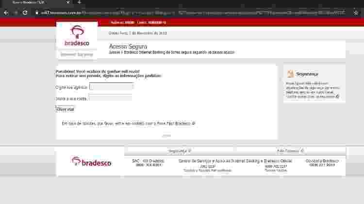 Falha permitia que hackers remodelassem site do Bradesco para aplicar golpes - Arquivo Pessoal/Mateus Gomes
