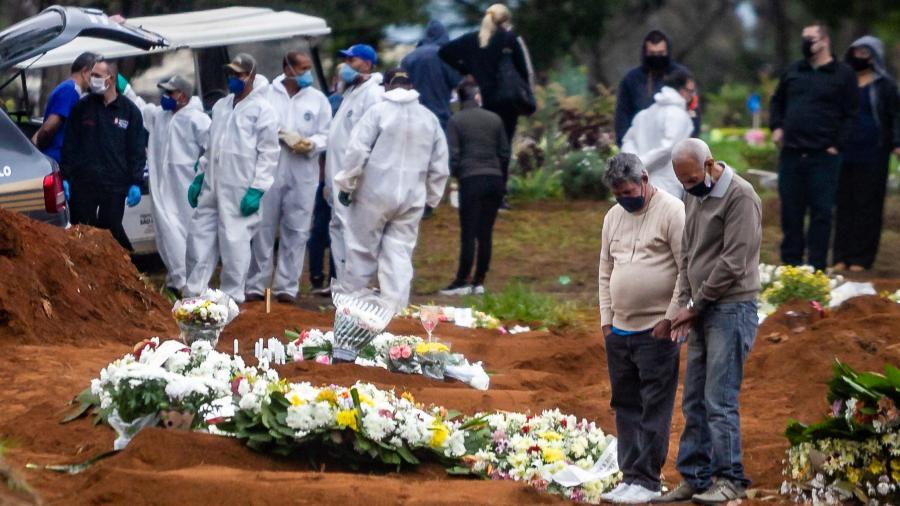 14.jun.2020 - Pessoas acompanham sepultamento no Cemitério de Vila Formosa, na Zona Leste de São Paulo - ANTONIO MOLINA/FOTOARENA/ESTADÃO CONTEÚDO