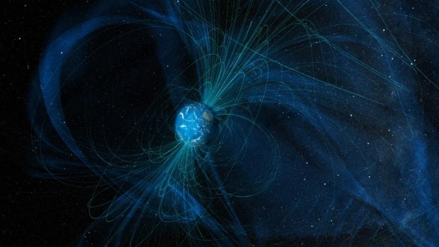 Ilustração mostra as linhas do campo magnético que a Terra gera hoje; A Lua não tem mais campo magnético - Nasa