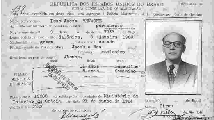 Ficha consular de imigração de Isaac Jacob Menache, emitida pelo cônsul-geral do Brasil em Pireu, 5 jul. 1954 - Vozes do Holocausto/Arqshoah - Vozes do Holocausto/Arqshoah