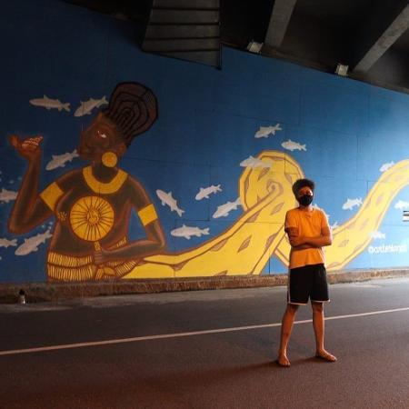 Pinturas nas paredes internas do Túnel da Abolição, na zona oeste do Recife - Divulgação