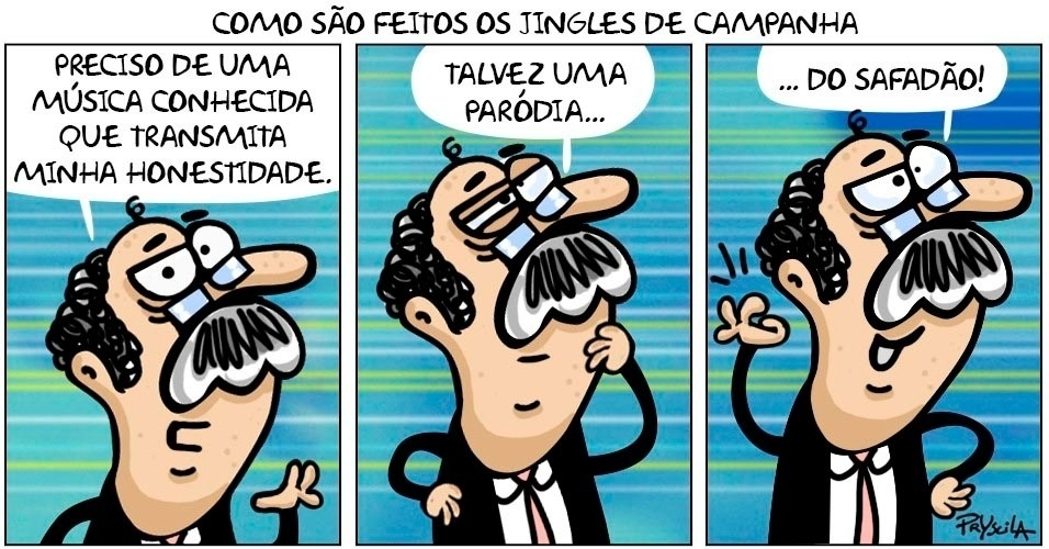 Candidato decide como vai ser seu jingle na charge de Pryscila