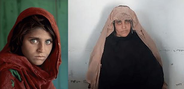 Sharbat Gula em foto icônica (esq.) que foi capa da National Geographic e em imagem divulgada pela Agência de Investigação Federal do Paquistão (FIA), ao ser presa no dia 26 de outubro de 2016