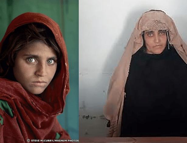 Sharbat Gula em foto icônica (esq.) e em imagem divulgada pela Agência de Investigação Federal do Paquistão (FIA)