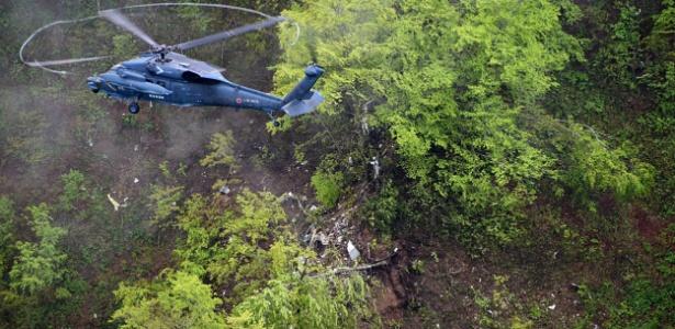 Local da queda de avião em região montanhosa na ilha de Hokkaido, Japão