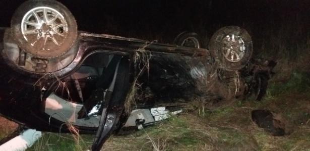 Grave acidente automobilístico, com capotamento, aconteceu em São Pedro do Sul (RS) - Divulgação/Polícia Rodoviária Federal