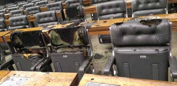 25.jan.2018 - Princípio de incêndio atinge Câmara dos Deputados