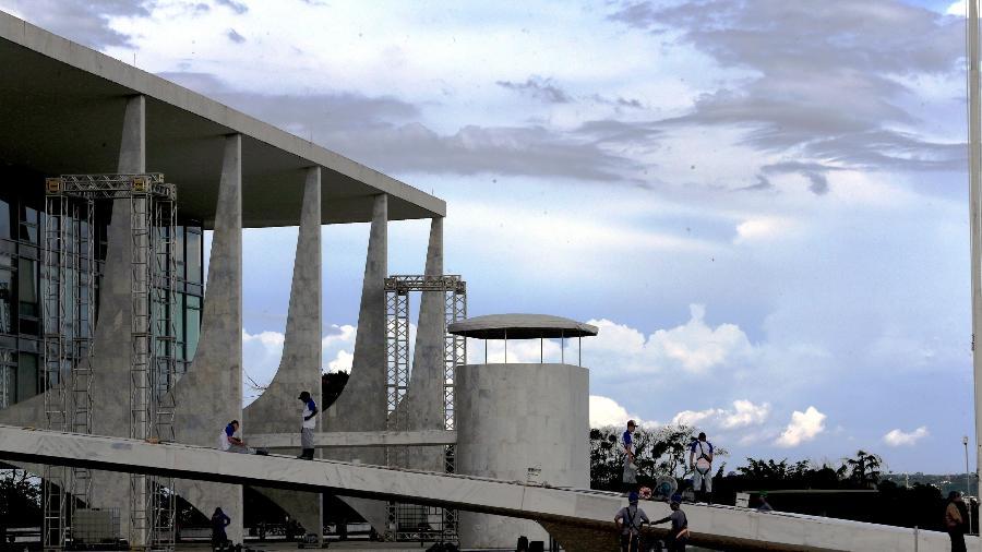 26.dez.2018 - Palácio do Planalto se prepara para cerimônia de posse de Jair Bolsonaro - Ernesto Rodrigues/Estadão Conteúdo