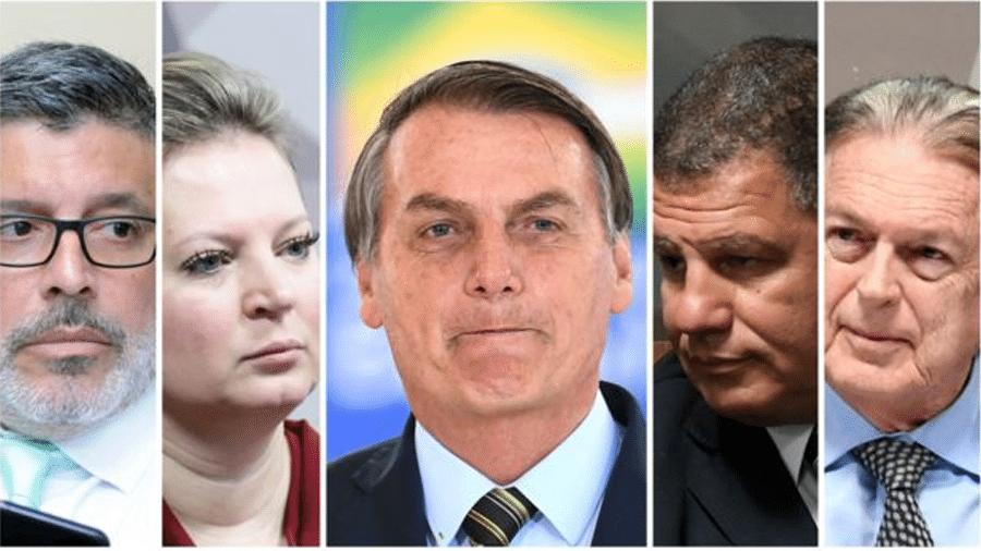 Jair Bolsonaro e seus ex-aliados; deputado Alexandre Frota (PSDB-SP), a deputada Joice Hasselmann (PSL-SP), o ex-ministro Gustavo Bebianno e o deputado Luciano Bivar (PSL-PE) - AG. CAMARA/AFP/AG. SENADO