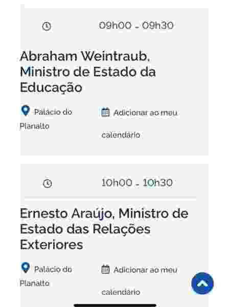 Agenda de Jair Bolsonaro para hoje, 3 de abril: dois ministros e mais nada - Reprodução